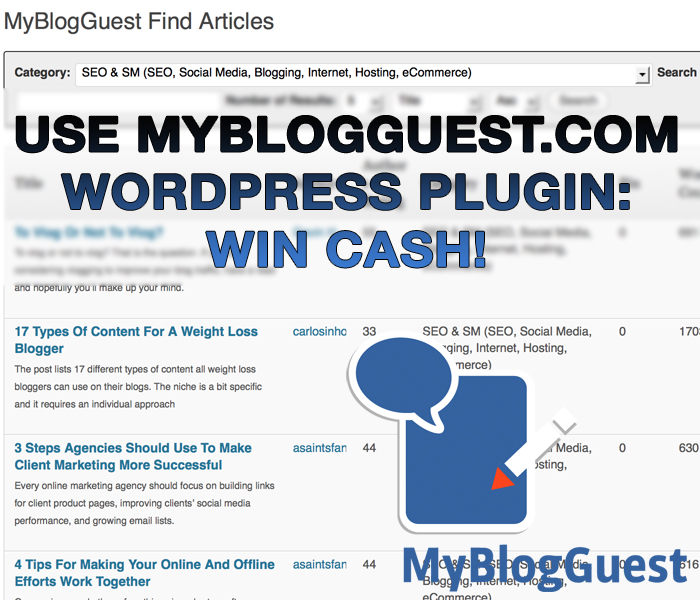 Use Guest Blogging Plugin -> Win Cash! MyBlogGuest Spring Contest