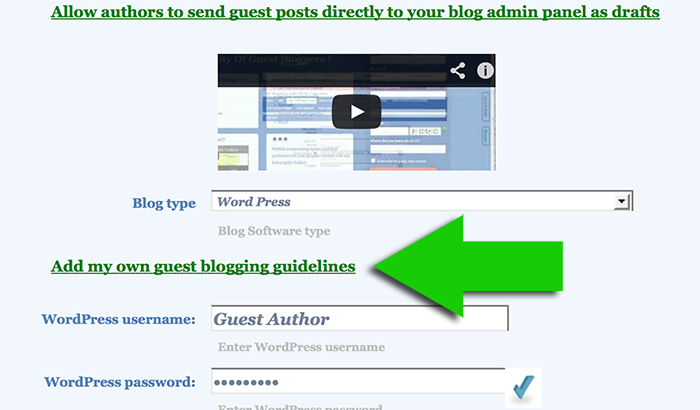 Add my own guest blogging guidelines