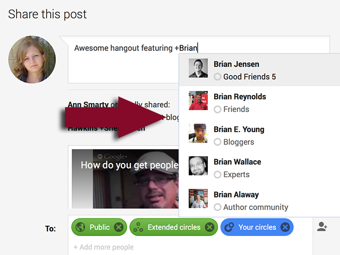 Google plus tag contacts