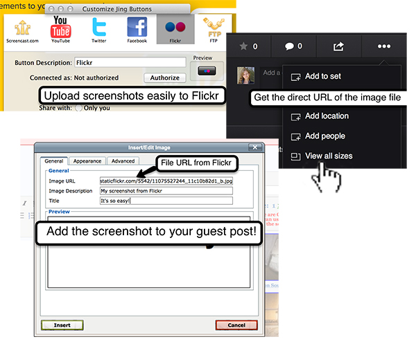 Create, edit, host, insert into a guest post screenshots with Jing